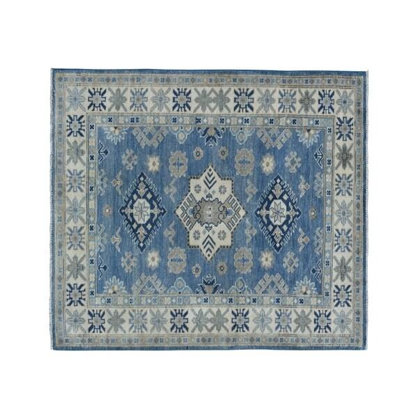 "Shahbanu Rugs Blue Vintage Look Kazak Pure Wool Hand-Knotted Oriental Rug (3'3"" x 5'0"") - 3'3"" x 5'0"""
