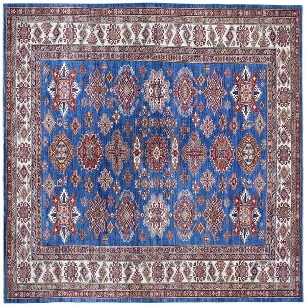 "Shahbanu Rugs Blue Super Kazak Pure Wool Geometric Design Hand-Knotted Oriental Rug (9'1"" x 12'0"") - 9'1"" x 12'0"""