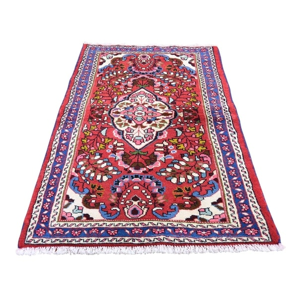 "Shahbanu Rugs Red New Persian Lilahan Pure Wool Hand-Knotted Oriental Rug (2'8"" x 4'7"") - 2'8"" x 4'7"""