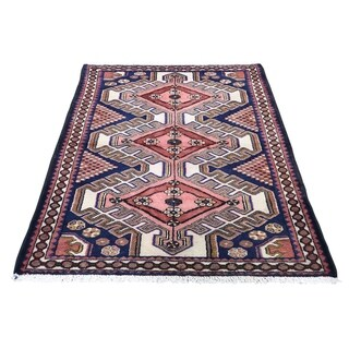 """Shahbanu Rugs Vintage Bohemian Persian Hamadan With Coral Pure Wool Hand-Knotted Rug (3'4"""" x 5'0"""") - 3'4"""" x 5'0"""""""