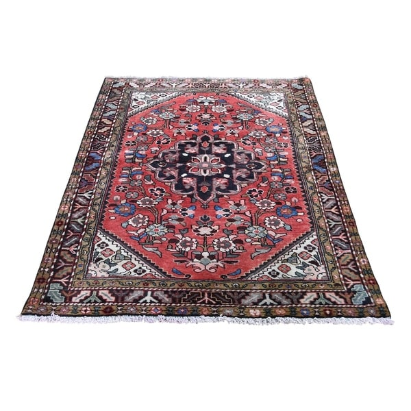 """Shahbanu Rugs Vintage Bohemian Red Persian Lilahan Pure Wool Hand-Knotted Rug (3'6"""" x 5'1"""") - 3'6"""" x 5'1"""""""