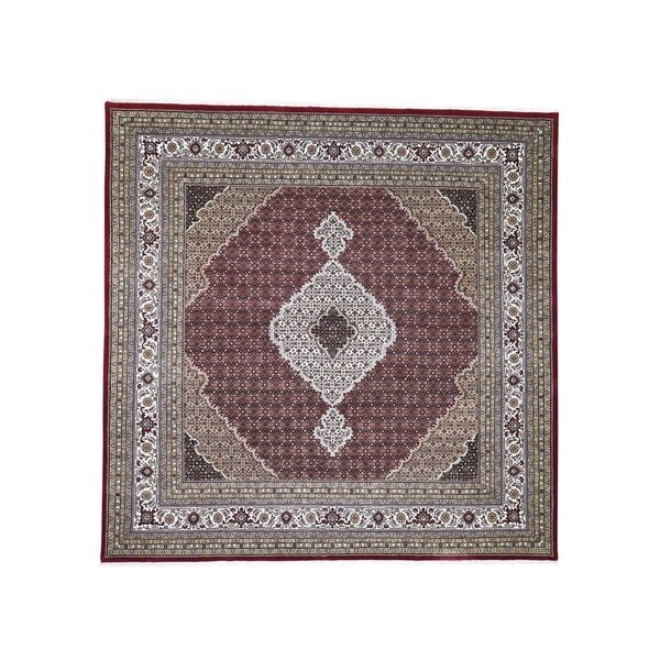 "Shahbanu Rugs Red Tabriz Mahi Square Wool and Silk Hand Knotted Oriental Rug (8'9"" x 8'9"") - 8'9"" x 8'9"""