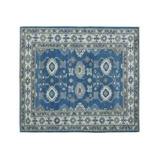 "Shahbanu Rugs Blue Vintage Look Kazak Pure Wool hand-Knotted Oriental Rug (3'2"" x 5'0"") - 3'2"" x 5'0"""
