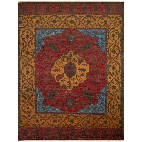 ECARPETGALLERY Hand-knotted Shalimar Dark Red Wool Rug - 8'9 x 11'5