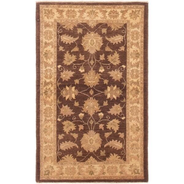 ECARPETGALLERY Hand-knotted Peshawar Finest Dark Brown Wool Rug - 3'3 x 5'3
