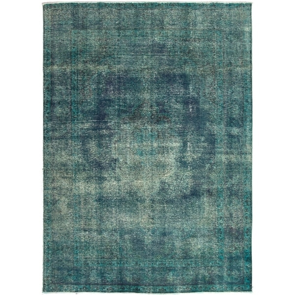 ECARPETGALLERY Hand-knotted Color Transition Dark Blue, Teal Wool Rug - 8'3 x 11'6