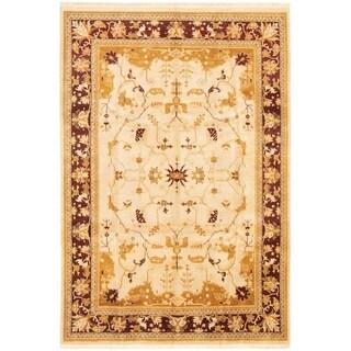 ECARPETGALLERY Hand-knotted Peshawar Oushak Beige Wool Rug - 6'0 x 9'0