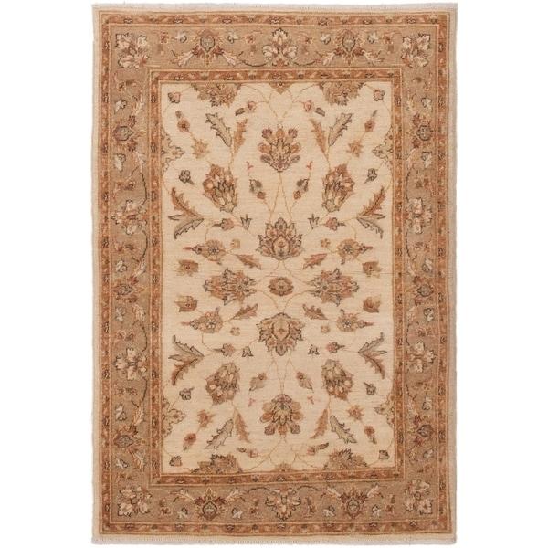ECARPETGALLERY Hand-knotted Peshawar Finest Cream Wool Rug - 3'4 x 5'0