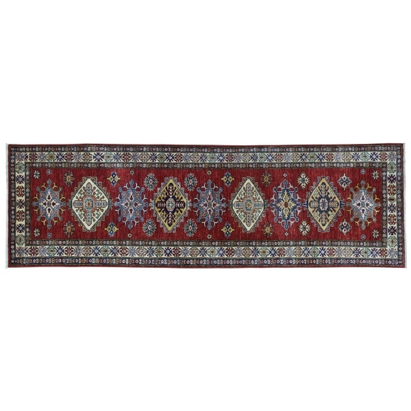 "Shahbanu Rugs Super Kazak Red Geometric Design Hand-Knotted Runner Oriental Rug (2'7"" x 9'3"") - 2'7"" x 9'3"""