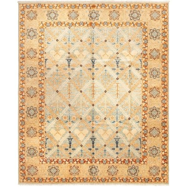 ECARPETGALLERY Hand-knotted Peshawar Finest Blue Brown Wool Rug - 7'10 x 9'7