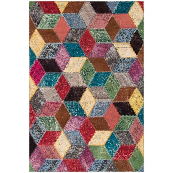 eCarpetGallery Hand-knotted Color Transition Patch Multi Wool Rug - 6'3 x 9'8