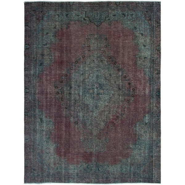 ECARPETGALLERY Hand-knotted Color Transition Burgundy, Green Wool Rug - 8'6 x 11'5