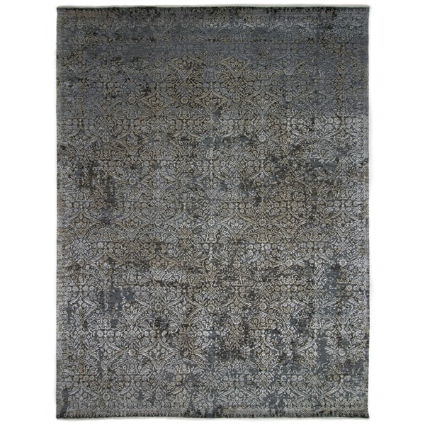 Contemporary Transitional One-of-a-Kind Hand-Knotted Area Rug - 9 x 12