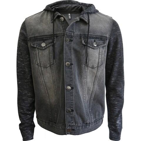 Mens Hooded Combo Trucker Denim Jacket
