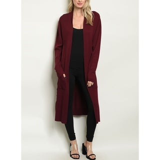 JED Women's Long Sleeve Maxi Cardigan with Waist Tie