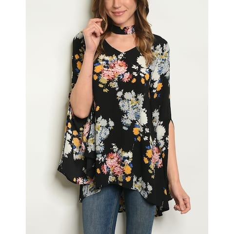 JED Women's Choker Floral Tunic Top