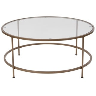 Round Tempered Glass Coffee Table with Round Matte Gold Frame - Accent Table