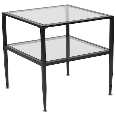 Glass End Table with Black Metal Frame - Living Room Furniture - Accent Table