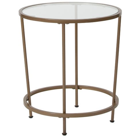 Round Tempered Glass End Table with Round Matte Gold Frame - Accent Table