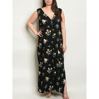 JED Women's Plus Size V-Neck Sleeveless Floral Maxi Dress