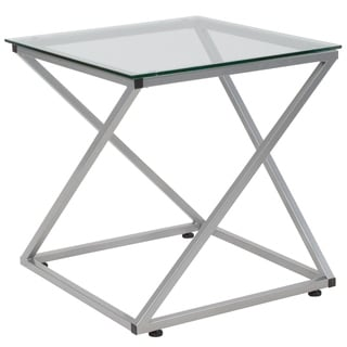 Tempered Glass End Table with Designer Contemporary Steel Design