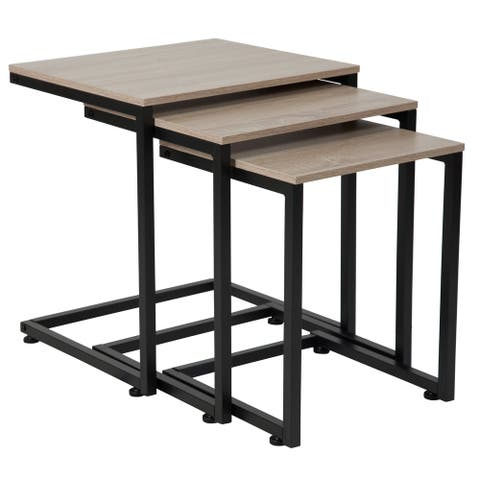 Sonoma Oak Wood Grain Finish Nesting Tables with Black Metal Cantilever Base