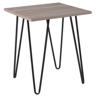 Driftwood Wood Grain Finish End Table with Triangular Black Metal Legs