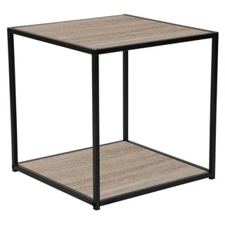 Sonoma Oak Wood Grain Finish End Table with Black Metal Frame