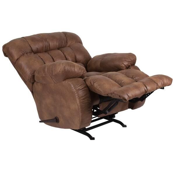 Tremendous Shop Copper Grove Vovchansk Brown Fabric Reclining Rocker Machost Co Dining Chair Design Ideas Machostcouk