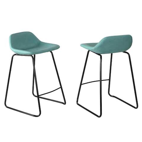 "Cortesi Home Ava Counterstools in Aqua Blue Faux Leather (Set of 2) - 24"" Seat"
