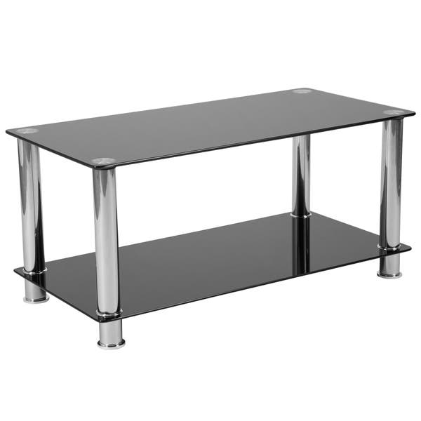 Shop Black Glass Coffee Table With Shelves And Stainless Steel