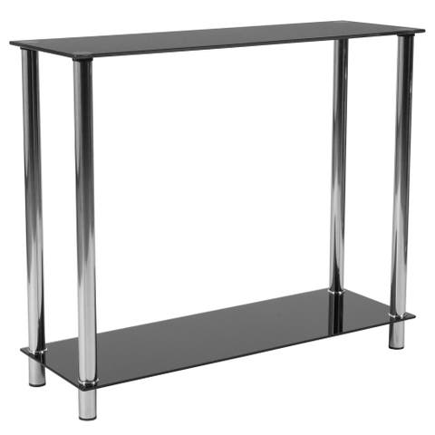 Black Glass Console Table with Shelves and Stainless Steel Frame - Accent Table