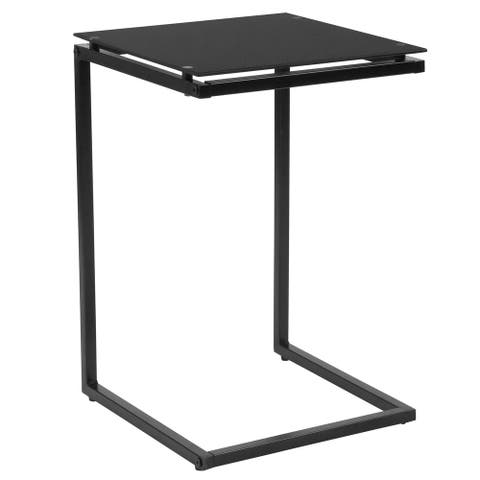 Black Glass End Table with Black Metal Frame - Occasional and Accent Tables