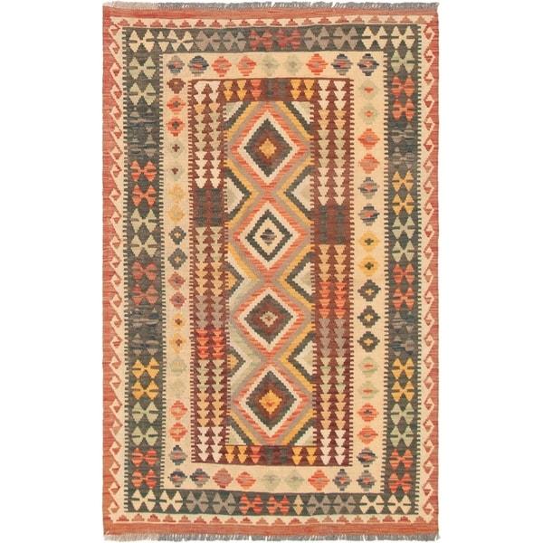 eCarpetGallery Flat-weave Kashkoli FW Red, Teal Wool Kilim - 4'7 x 6'4