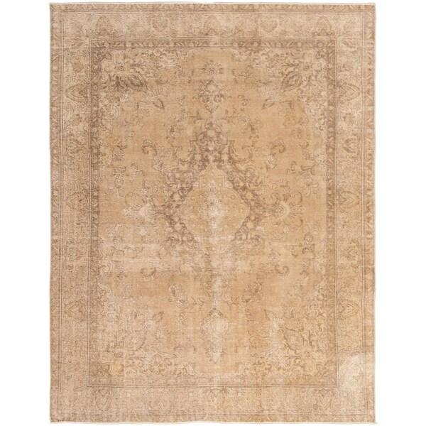 ECARPETGALLERY Hand-knotted Antalya Vintage Tan Wool Rug - 9'7 x 12'5