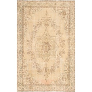 eCarpetGallery  Hand-knotted Antalya Vintage Light Khaki Wool Rug - 6'8 x 10'8