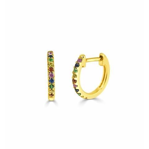 Rainbow Sapphire Huggie Earrings 14k Gold