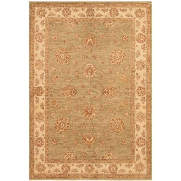ECARPETGALLERY Hand-knotted Peshawar Finest Light Green Wool Rug - 5'8 x 8'2