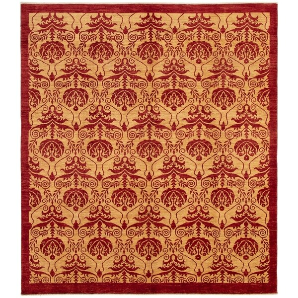 ECARPETGALLERY Hand-knotted Finest Ziegler Chobi Red Tan Wool Rug - 8'4 x 9'6