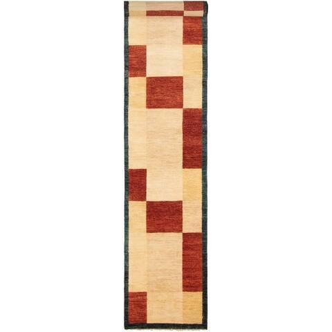 """Hand-knotted Ziegler Chobi Burgundy, Cream Wool Rug - 2'5"""" x 16'3"""" Runner"""