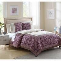 White Birch Myra Clipped Jacquard Boho 3 Piece Comforter Set