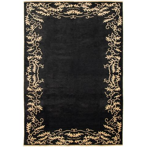 "Hand-knotted Ziegler Chobi Black Wool Rug - 6'10"" x 10'0"""