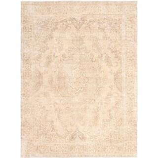 ECARPETGALLERY Hand-knotted Antalya Vintage Beige Wool Rug - 9'6 x 12'10