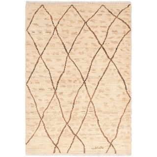 ECARPETGALLERY Hand-knotted Tangier Cream Wool Rug - 4'6 x 6'3