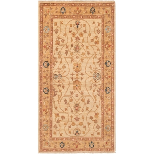 ECARPETGALLERY Hand-knotted Peshawar Finest Ivory Wool Rug - 3'5 x 6'10