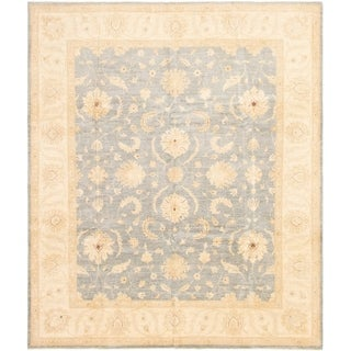 ECARPETGALLERY Hand-knotted Peshawar Finest Light Denim Blue Wool Rug - 8'1 x 9'8