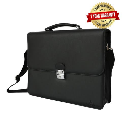 Black Genuine Leather Laptop Briefcase, Mens Business Messenger Bag