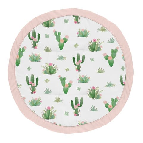 Sweet Jojo Designs Pink and Green Boho Watercolor Cactus Floral Collection Baby Tummy Time Playmat