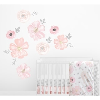 Sweet Jojo Designs Blush Pink Grey White Watercolor Floral Collection Peel and Stick Wall Mural Decal Sticker Art Nursery Decor