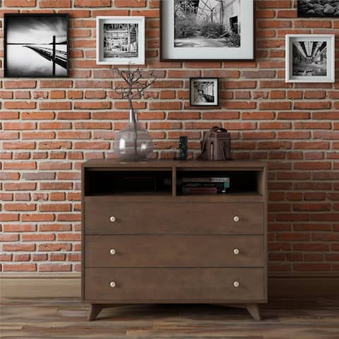 Novogratz Otis Mid-Century Modern Dark Walnut 3-Drawer Chest